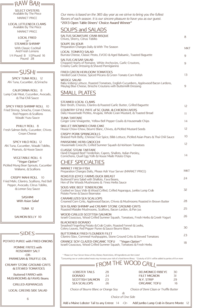 Saltus River Grill Menu | July 2014