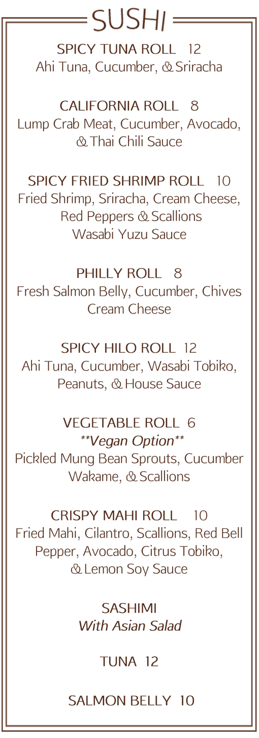 Saltus River Grill Sushi Menu | July 2014