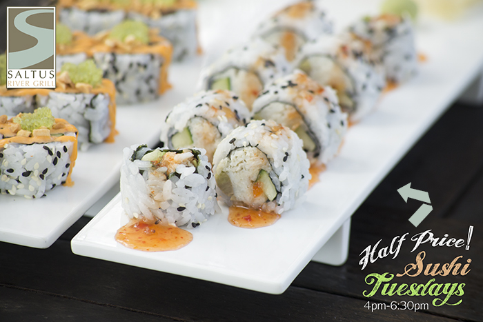 Beaufort Sushi | Saltus Half Price Sushi Tuesdays | Beaufort Restaurants | Saltus River Grill