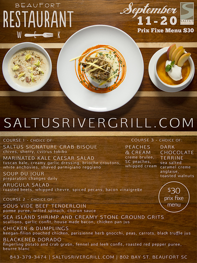 Beaufort Restaurant Week | September 11-20 | Saltus River Grill