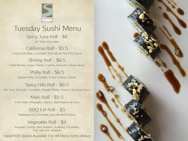 Tuesday Sushi Special Menu
