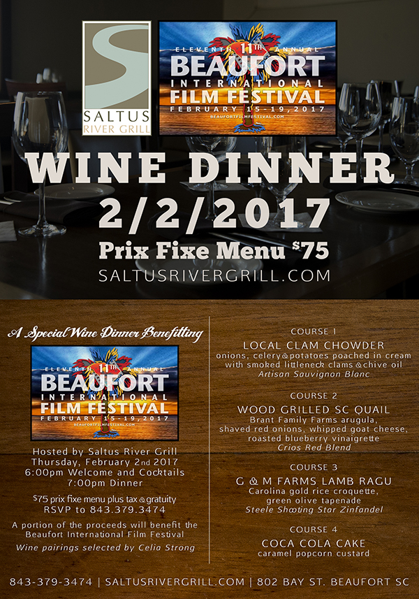 Saltus Film Festival Wine Dinner Beaufort SC