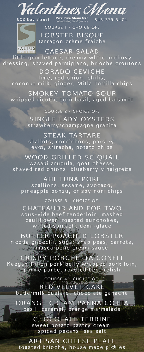 Saltus River Grill Valentine's Menu Beaufort SC Restaurants
